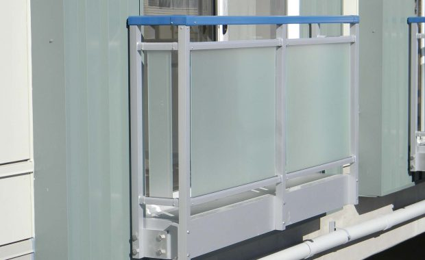 Juliet with etched frit glass rail
